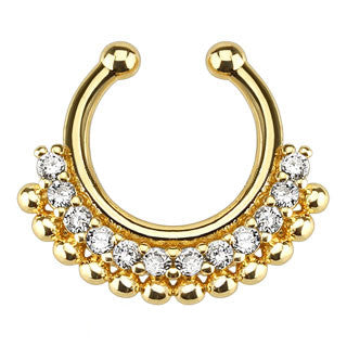 Paved Gem Fan Gold IP Faux Septum Hanger