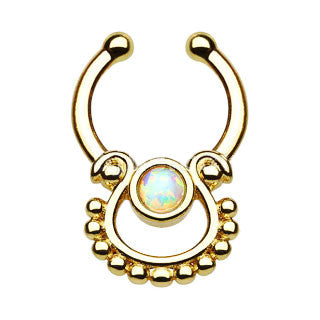 Single Opal Gold IP Faux Septum Hanger