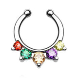 Five Paved Gem CZ Faux Septum Hanger