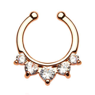 Five Paved CZ Gem Gold IP Faux Septum Hanger