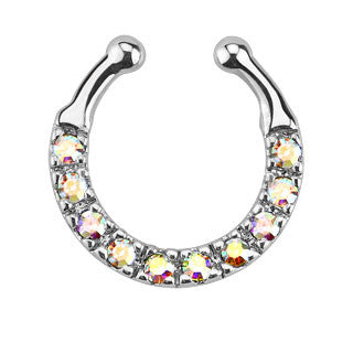 Ten Paved CZ Gem Faux Septum Hanger