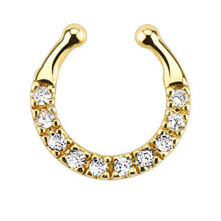 Ten Paved CZ Gem Gold IP Faux Septum Hanger