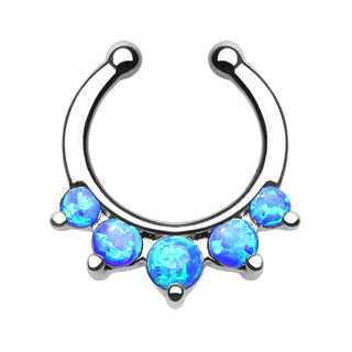 Five Paved Opal Gems Faux Septum Hanger