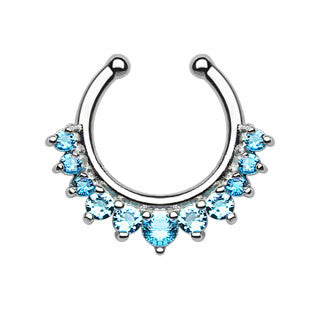Single Line Multi CZ Gems Faux Septum Hanger
