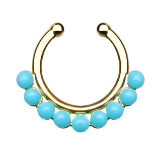 Single Lined Turquoise Beads Faux Septum Hanger