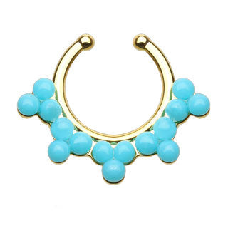 Double Lined Turquoise Beads Faux Septum Hanger