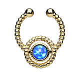 Gold IP Roped Lab Opal Faux Septum Hanger