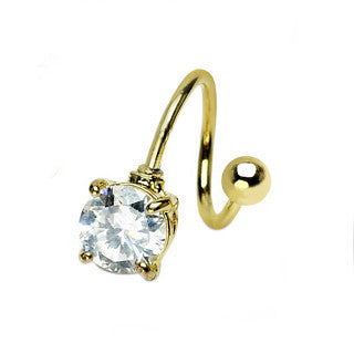 Twist Circle Gem Navel Ring