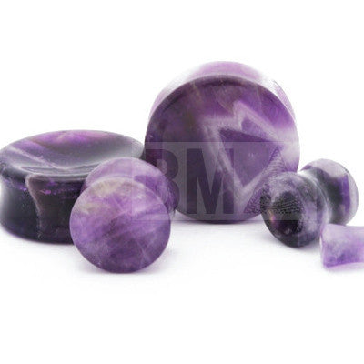concave amethyst stone plugs