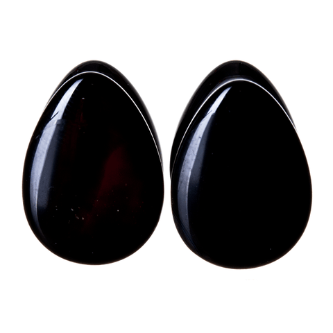 black obsidian stone plugs