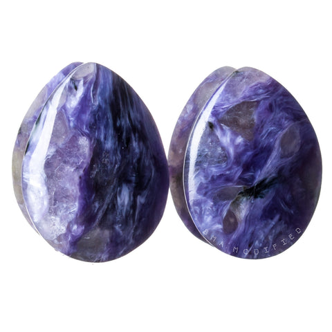 "5/8"" (16mm) Charoite Siberian Teardrop Custom Plugs"