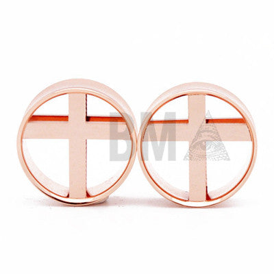 cross rose gold plugs