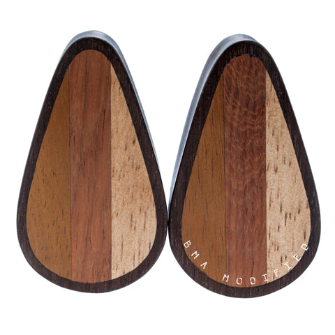 Dark Woodie Surfboard Inspired Teardrop Plugs