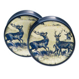 "Vintage Deer Tapestry Plugs 1 1/8"" (28mm)"