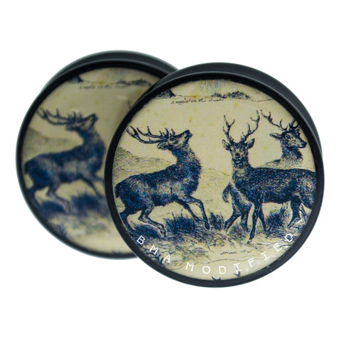 "Vintage Deer Tapestry Plugs 1 1/4"" (32mm)"