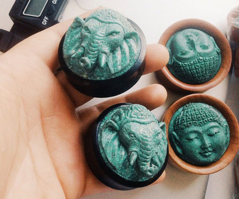 Ganesha Turquoise in Areng Wood Plugs (14mm-50mm)
