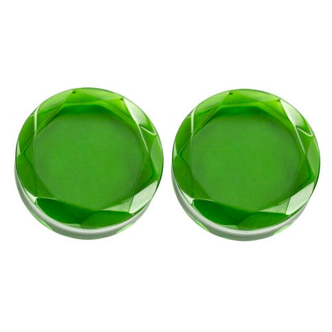 "Emerald Green Faceted Plugs (0g-2"")"