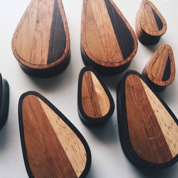 "Light Woodie Surfboard Inspired Teardrop Plugs (5/8"" -2"")"
