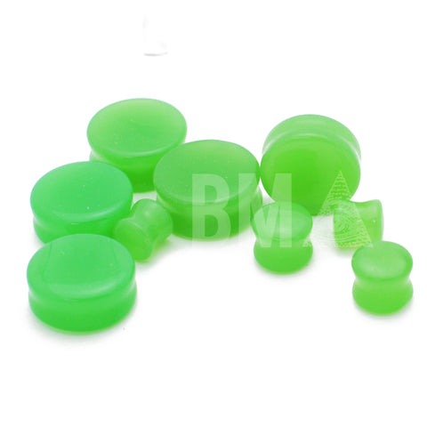 lime green glass plugs