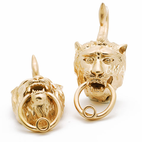 Brass Lion Door Knocker Ear Weights Plugs (2g+)