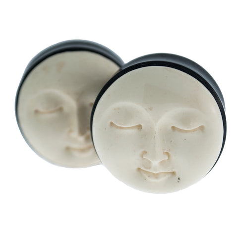 Moon Face Carved in Horn & Bone Plugs (6mm-28.5mm)