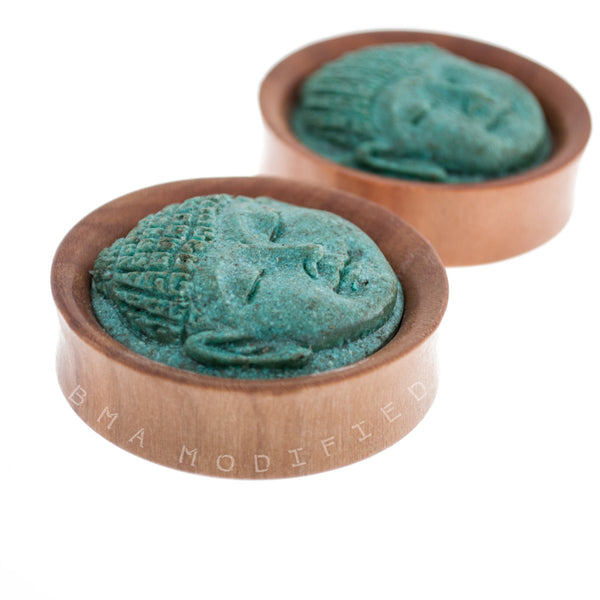 carved buddha wood plugs