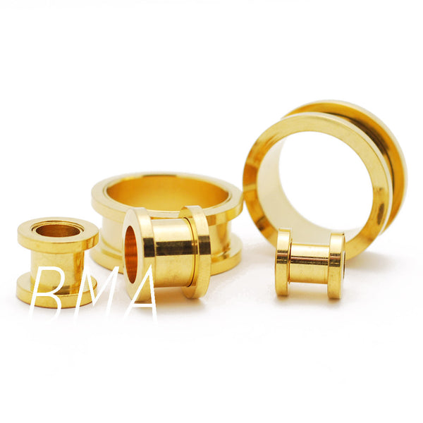 Gold Plated Screw Fit Tunnels Plugs (12.5mm-22mm)