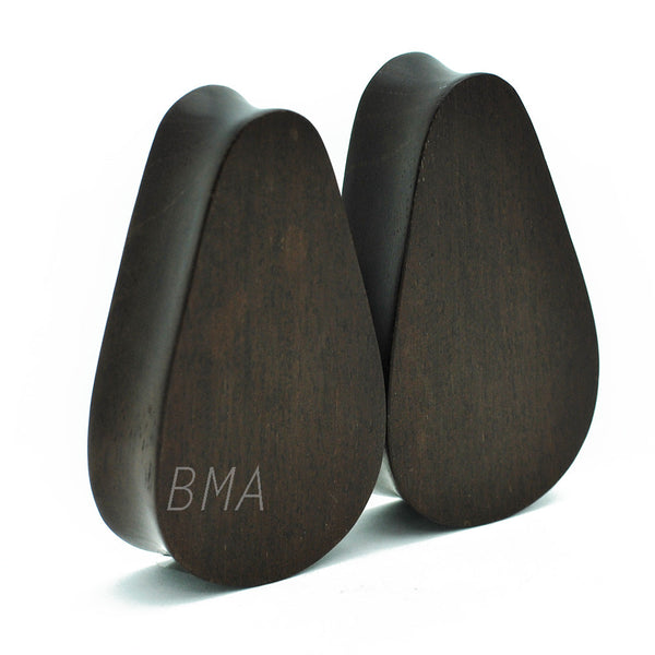 Dark Raintree Wood Teardrop Plugs (6mm-51mm)