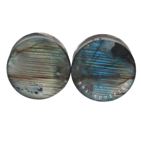Tiger High Flash Labradorite Thick Stone Plugs (27mm) #7650