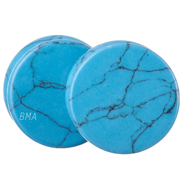 4g (5mm) 2nd Quality Turquoise Howlite Plugs