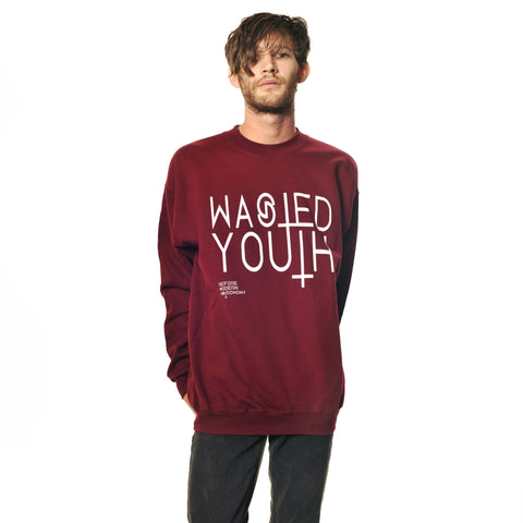 Crew Sweater// Wasted Youth Maroon