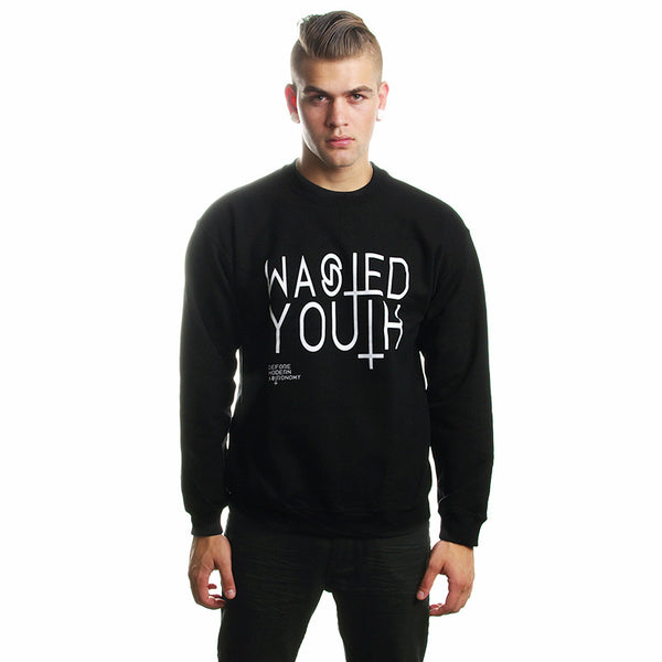Crew Sweater// Wasted Youth Black