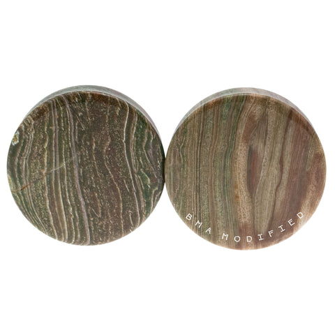 Wood Line Jasper Stone Plugs (4mm-41mm) Pair
