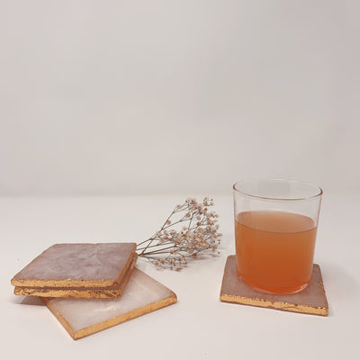 Square Agate Coasters w/ Gold Foil Trim Set