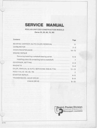 Poulan 31 - 91 Chainsaw Workshop downloadable pdf Service and Repair Manual