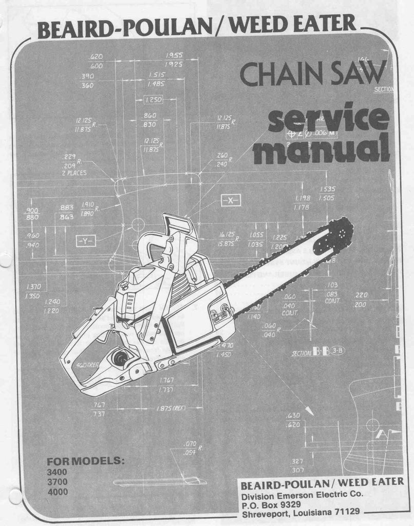 Poulan 3400 - 4000 Chainsaw Workshop downloadable pdf Service and Repair  Manual