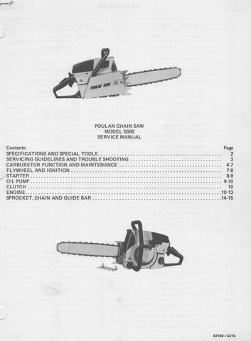 Poulan 5500 Chainsaw Workshop downloadable pdf Service and Repair Manual