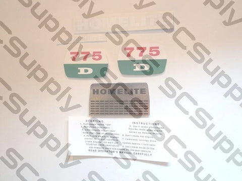 Homelite 775D decal set