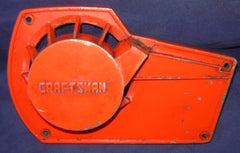 roper built craftsman 3.7 chainsaw red, early model starter recoil cover and pulley assembly