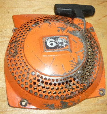husqvarna 65 chainsaw starter recoil cover and pulley assembly