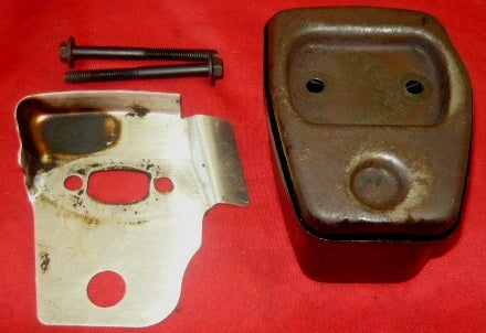 poulan 2050, 2150, 2175, 2375 chainsaw muffler assembly with screws and  backplate pn 530-047207