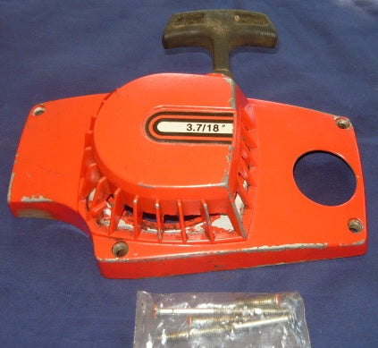 poulan built craftsman 3.7 chainsaw starter cover and pulley assembly (Red)