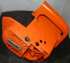 stihl 015, 015L chainsaw starter recoil housing cover only (orange, with cast rear handle built in)