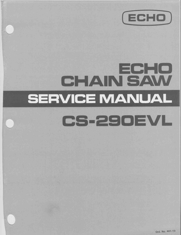 Echo CS-290EVL downloadable pdf Service and Repair Manual