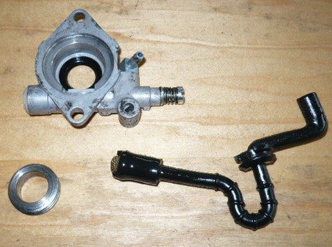 makita dcs 9000 chainsaw oil pump and line assembly