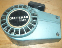 poulan built craftsman 2.3 ps chainsaw complete starer recoil cover and pulley assembly (blue)