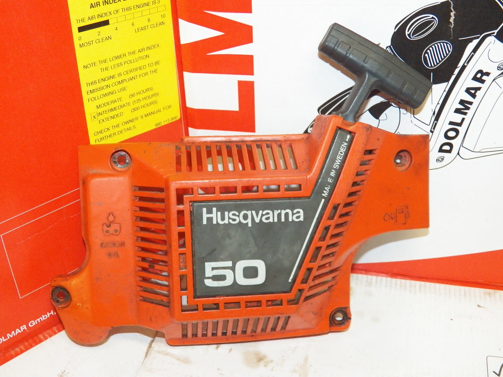 husqvarna 50 chainsaw starter recoil cover and pulley assembly