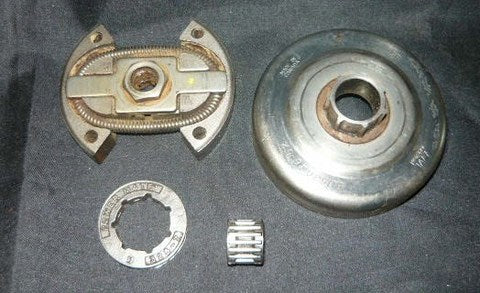 husqvarna 50, 51, 55 chainsaw complete rim drum clutch assembly with  replacement rim  325 7 tooth