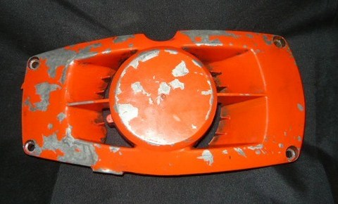 roper built craftsman 3.7 chainsaw late, red model starter / recoil cover and pulley assembly