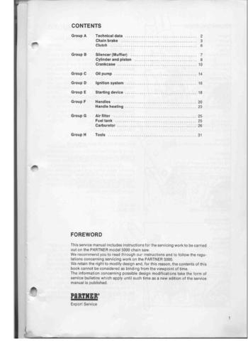 Partner 500 5000 Chainsaw downloadable pdf Service and Repair Manual